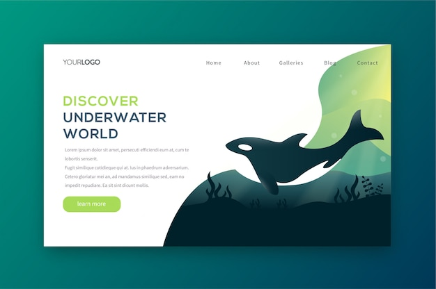 Descubre la página de aterrizaje bajo el agua