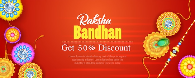 Descuento de banner de raksha bandhan