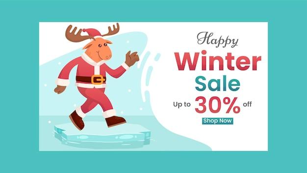 Descuento de banner de venta de invierno con ilustración de ciervo plano