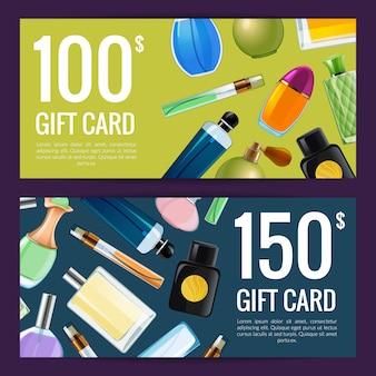 Descuento de botellas de perfume de vector o tarjeta de regalo