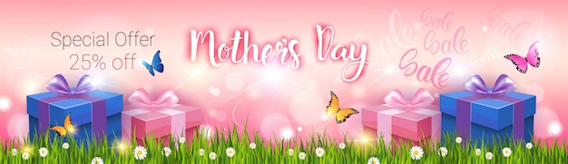 Descuento de compras del día de la madre feliz de la venta, bandera de la tarjeta de felicitación de las vacaciones de primavera