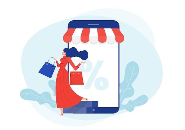 Descuento en compras en línea. mujer feliz tienda en smartphone en tienda de viernes negro