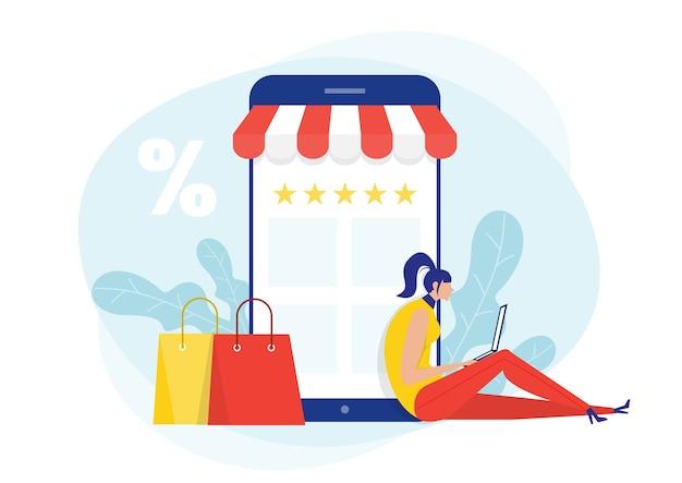Descuento en compras en línea. tienda de mujer a través de smartphone en tienda de viernes negro
