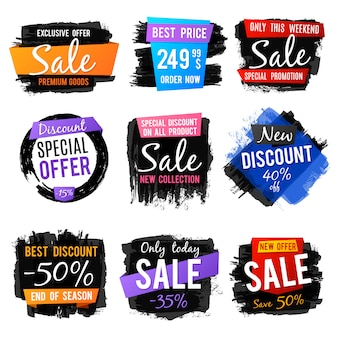 Descuento y etiqueta de precio, banners de venta con grange cepillado marcos y texturas angustiadas conjunto de vectores