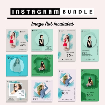 Descuento instagram post stories fashion template