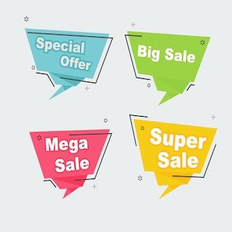 Descuento promocional venta conjunto cinta insignia banner plantilla