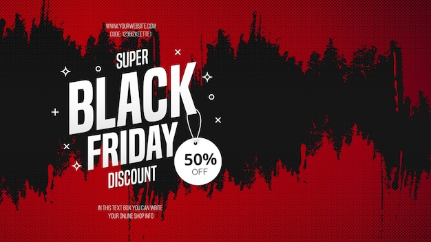 Descuento super black friday con textura de pincel rojo