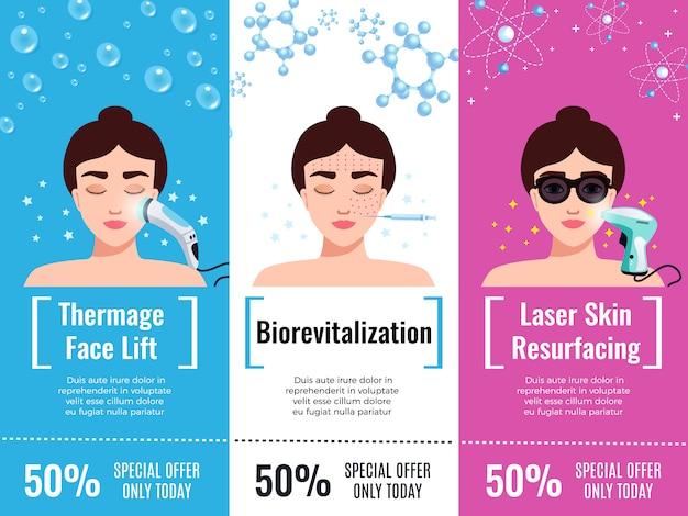 El descuento en el tratamiento de rejuvenecimiento de cosmetología ofrece publicidad horizontal plana con estiramiento facial térmico aislado