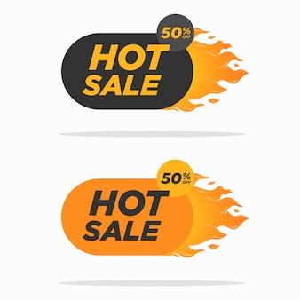 Descuento de venta caliente 50% de descuento plantilla de diseño plano con conjunto de llamas