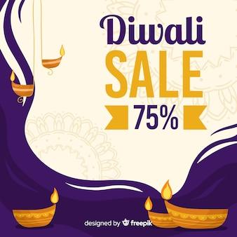 Descuento de venta de diwali dibujado a mano