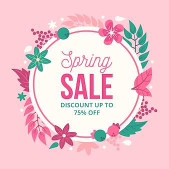 Descuento de venta de primavera de diseño plano con flores y hojas