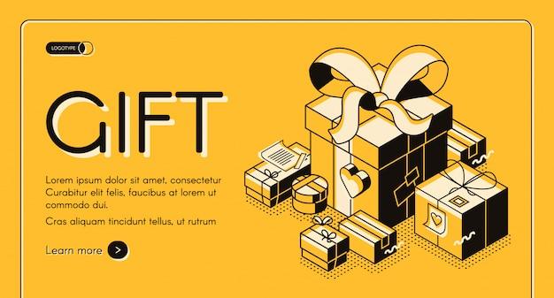 Descuentos en compras navideñas, campaña de ventas de san valentín banner web isométrico