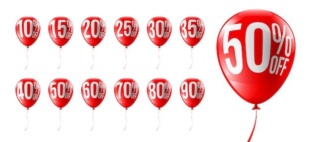 Descuentos de globos rojos para venta o promoción de compras minoristas