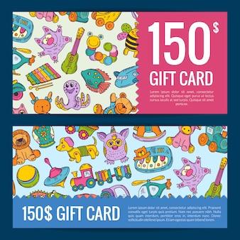 Descuentos o cupones de regalo con elementos de juguetes de niños o niños de colores dibujados a mano. tarjeta de banner con descuento y bono regalo.