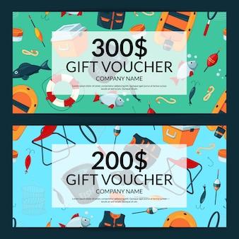 Descuentos o plantillas de vales de tarjetas de regalo con equipo de pesca de dibujos animados