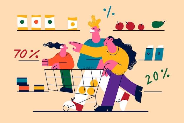 Descuentos promoción de ventas en la ilustración de la tienda.