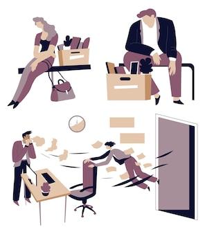 Desempleo y pérdida de trabajo triste hombre y mujer