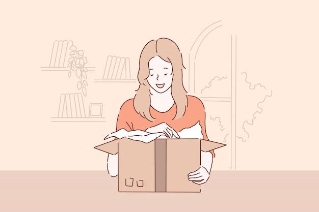 Desenvolviendo sorpresa agradable, concepto de entrega de paquetes