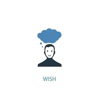 Deseo concepto 2 icono de color. ilustración simple elemento azul. deseo concepto símbolo diseño. se puede utilizar para ui / ux web y móvil
