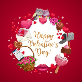 Deseo del día de san valentín, con besos de gatos, corazones y flechas.
