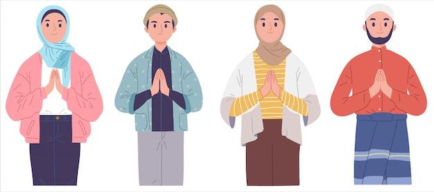 Deseos musulmanes saludo eid mubarak fitr fiesta islámica