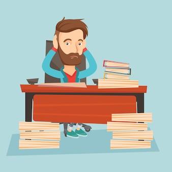 Desesperación empresario trabajando en oficina.