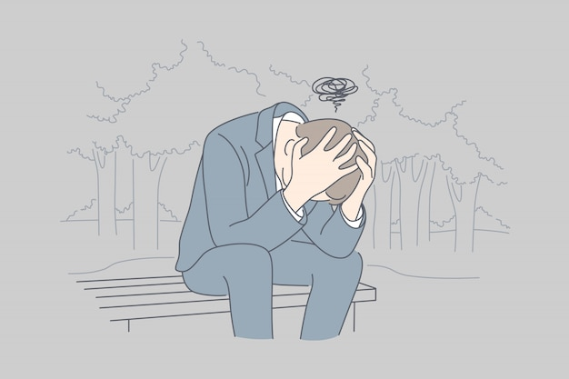 Desesperación, frustración, depresión, estrés mental, concepto de negocio.