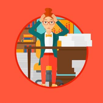 La desesperación de la mujer espair sentado en la oficina.