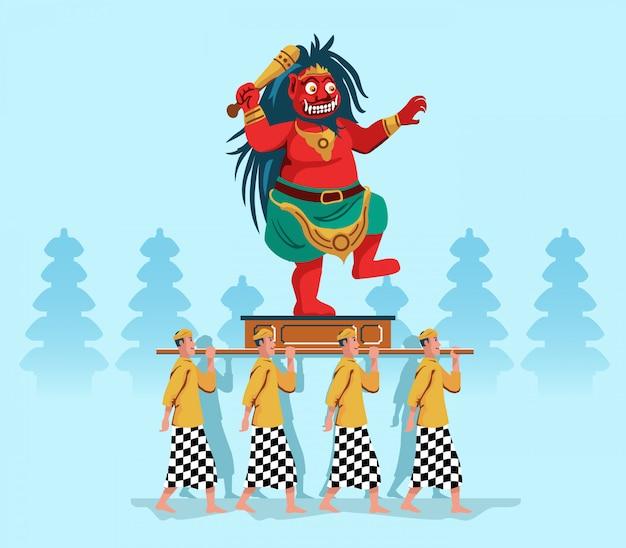 Desfile de la estatua del espíritu maligno por la gente hindú de bali