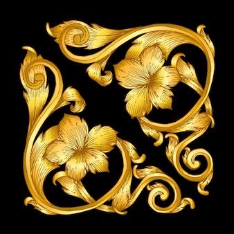 Desfile de marco barroco vintage dorado
