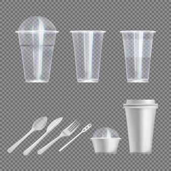Desgaste de plástico. cuchara, tenedor y cuchillo, vaso para llevar bebida y merienda con y sin tapa ilustración de utensilios de cocina de picnic. vajilla realista y utensilios de cocina en transparente.