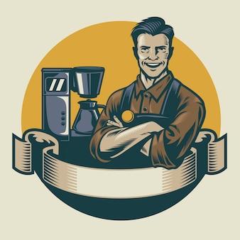 Desgin retro barista posando con fondo de máquina de café espresso