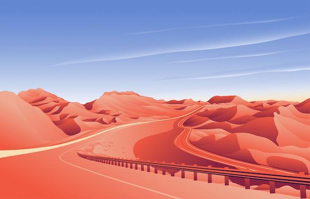 Desierto, colina, camino, paisaje, plano de fondo