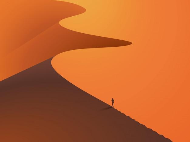 En un desierto de dunas con un hombre en primer plano