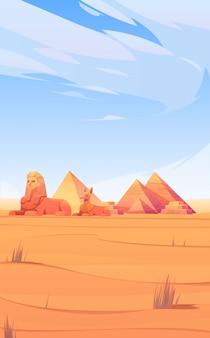 Desierto egipcio con pirámides, esfinges y anubis