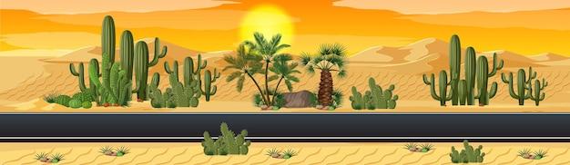 Desierto con escena de paisaje de naturaleza de carretera