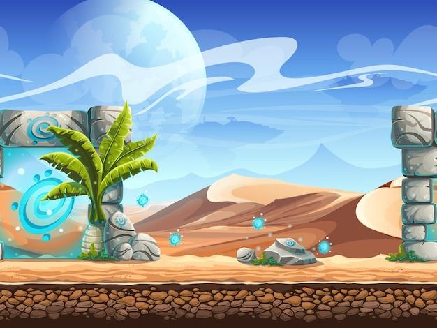 Desierto sin fisuras con palmeras y un portal mágico.
