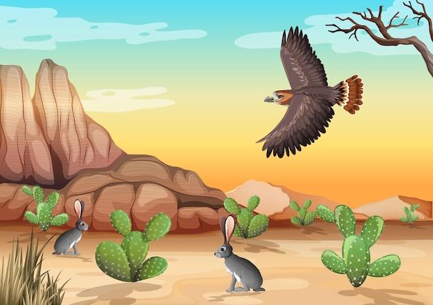 Desierto con montañas rocosas paisaje de animales del desierto en la escena del día