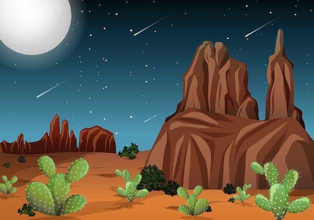 Desierto con montañas rocosas y paisaje de cactus en la escena nocturna