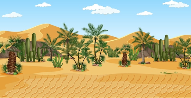 Desierto con palmeras naturaleza paisaje escena.