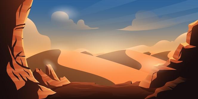 Desierto con rocas en la tarde paisaje ilustración