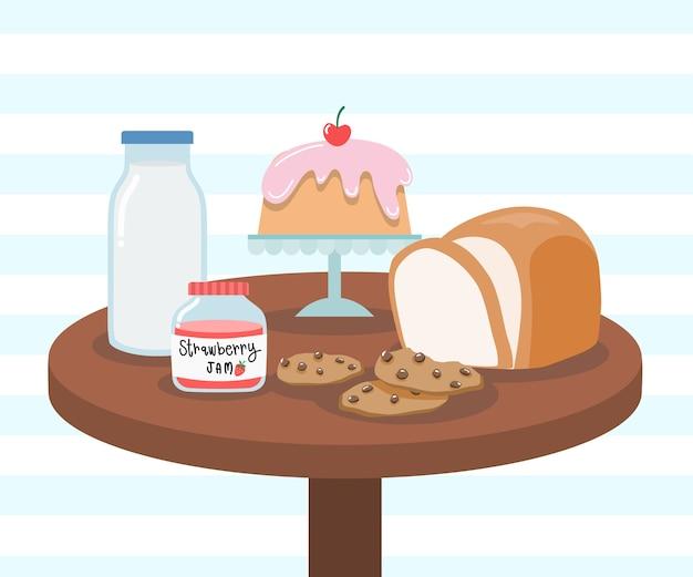 Desierto de vector de desayuno y concepto de bebida, desayuno fácil en la mañana, galletas de pan, mermelada de fresa, pastel de leche en la mesa de madera