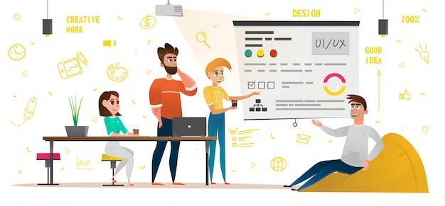 Design studio banner cartoon people trabajo creativo