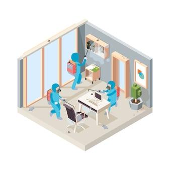 Desinfección de oficinas. servicio de limpieza de veneno de plagas que trabaja en insectos de habitación que controlan el concepto isométrico. ilustración de la oficina de la sala de desinfección, control y prevención del trabajo profesional