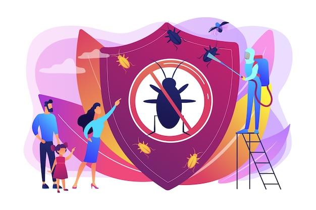 Desinfección sanitaria doméstica. tratamiento químico de insectos. control de insectos plagas en el hogar, servicio de exterminador de alimañas, concepto de equipo de trips de insectos. ilustración aislada violeta vibrante brillante