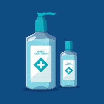 Desinfectante de manos en diseño plano