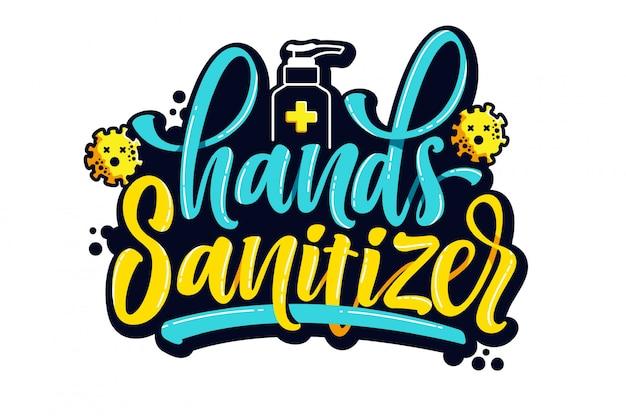 Desinfectante de manos fondo de letras