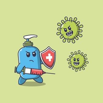 El desinfectante de manos lucha contra el virus de la corona usando una ilustración de dibujos animados de inyección