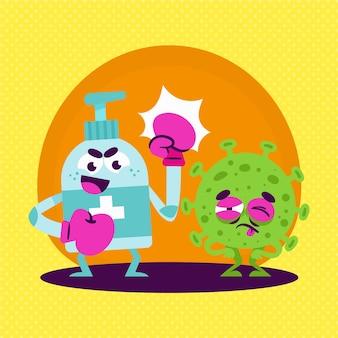 Desinfectante de manos que lucha contra la ilustración del virus
