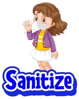 Desinfecte el cartel en estilo de dibujos animados con una niña con máscara médica en blanco